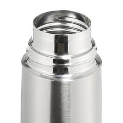 Thermosfles voor wandelen rvs 0,4 liter metaalkleur