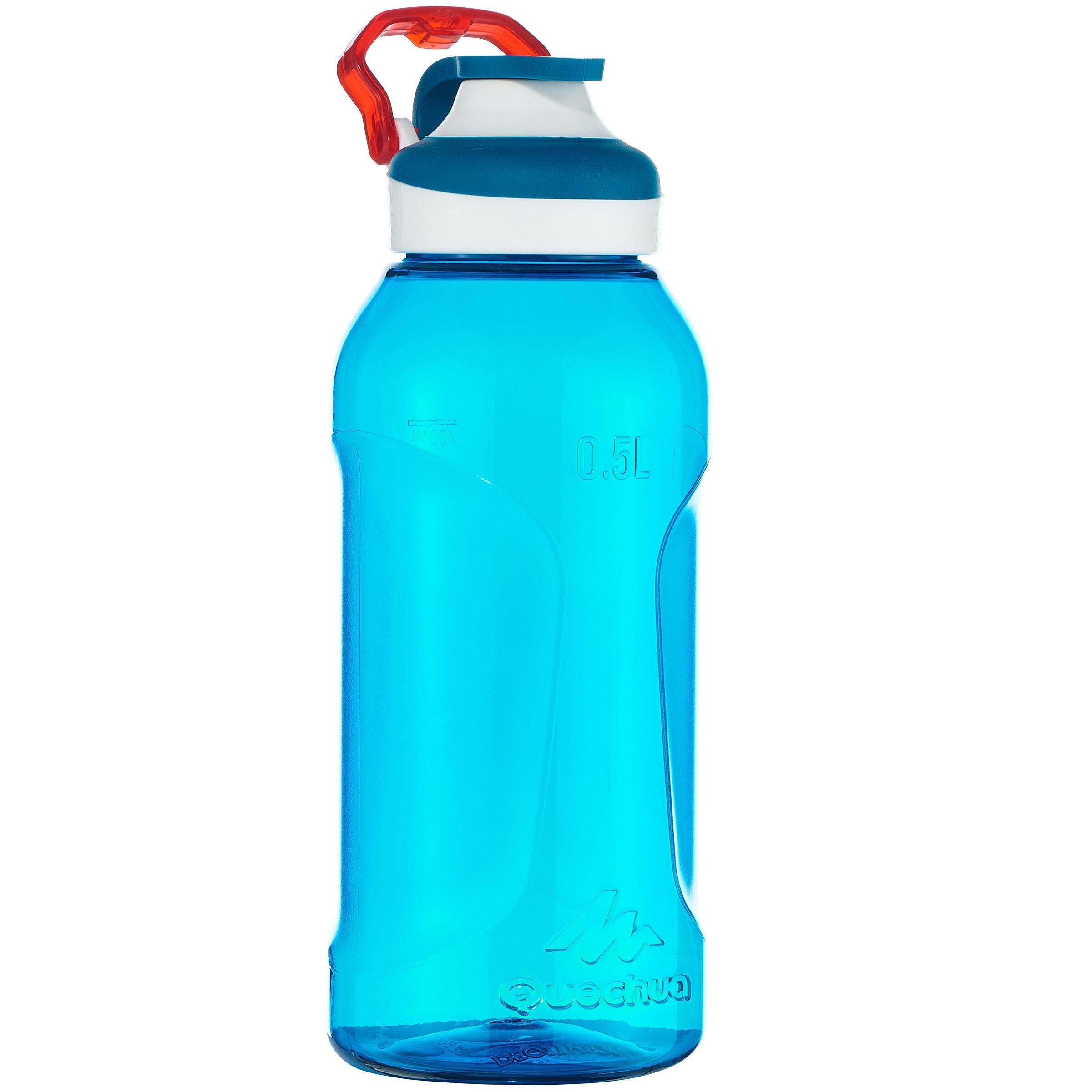 Botella senderismo 500 tapón apertura rápida 0.5 l plástico (Tritán) Azul