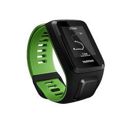 Gps-horloge Runner 3 met hartslagmeter aan de pols zwart/groen (maat L) - 1058631