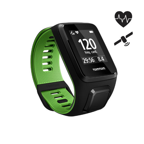 Gps-horloge Runner 3 met hartslagmeter aan de pols zwart/groen (maat L) - 1058633