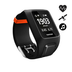 Gps-horloge Adventurer cardio + music zwart/oranje (maat L)