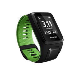 Gps-horloge Runner 3 met hartslagmeter aan de pols zwart/groen (maat L)