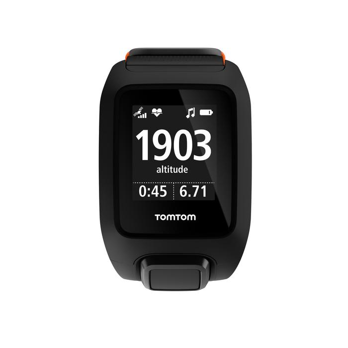 Montre de sport GPS Adventurer cardio + music au poignet noir/orange (taille L) - 1058646
