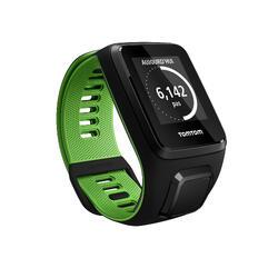 Gps-horloge Runner 3 met hartslagmeter aan de pols zwart/groen (maat L) - 1058653