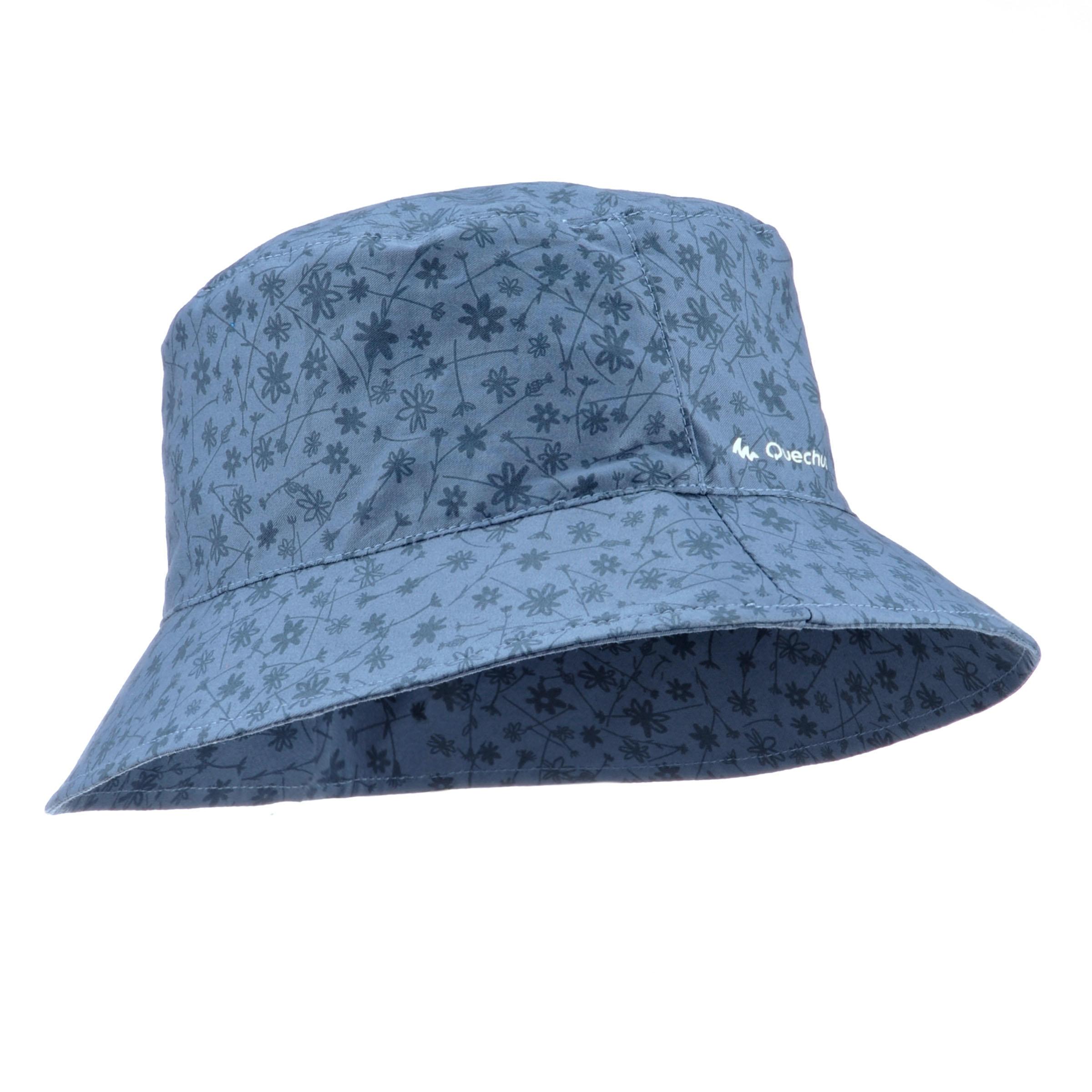 Sombrero de travesía niña Hike 500 estampado gris