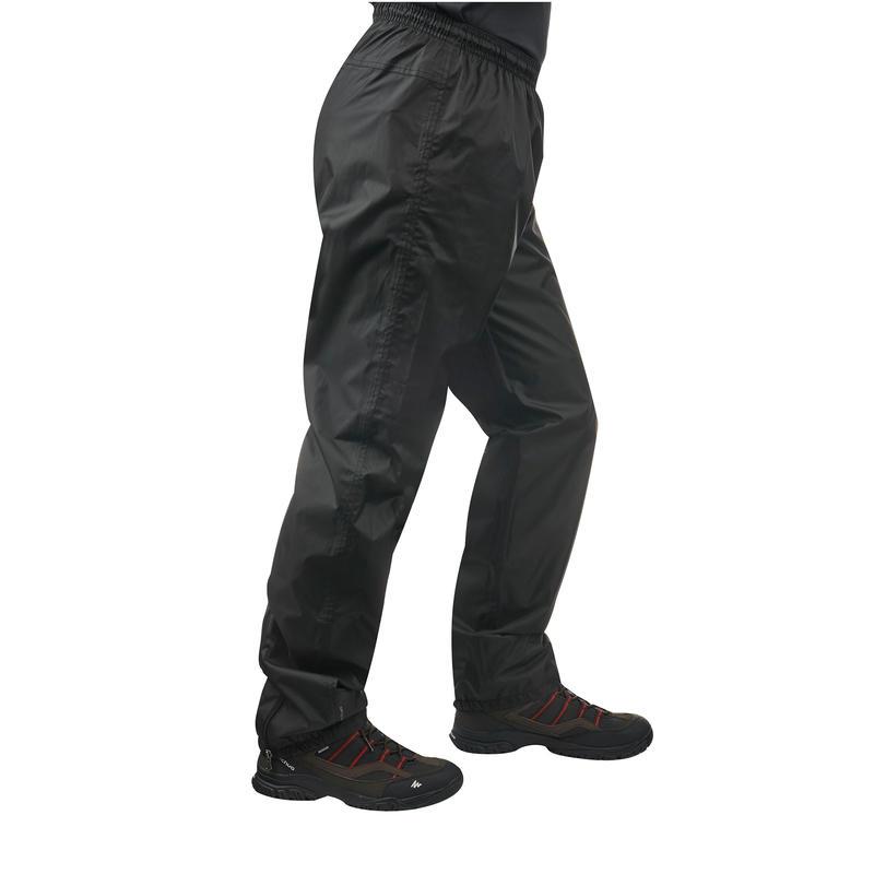Sobrepantalón impermeable senderismo en la naturaleza hombre Raincut negro