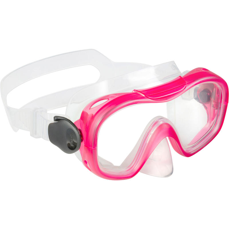 Kit palmes masque tuba d'apnée freediving PMT100 rose pour enfants