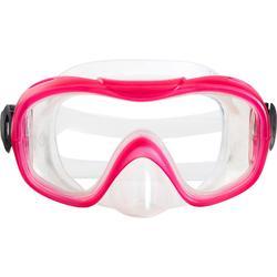 Kit aletas máscara tubo de apnea freediving PMT100 rosa para niños