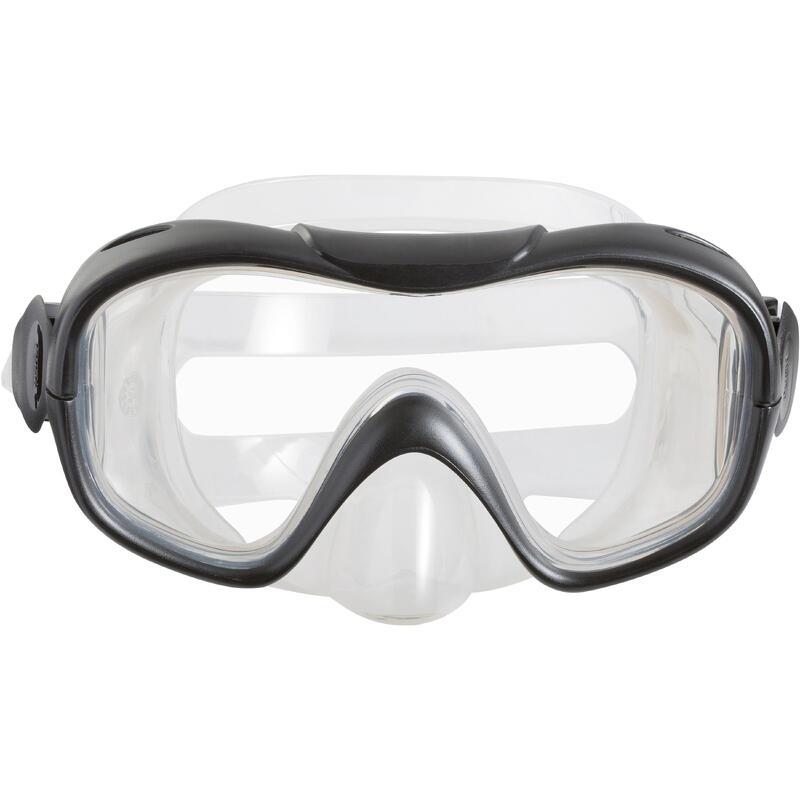 Kit de snorkel aletas máscara y tubo 100 adulto azul negro