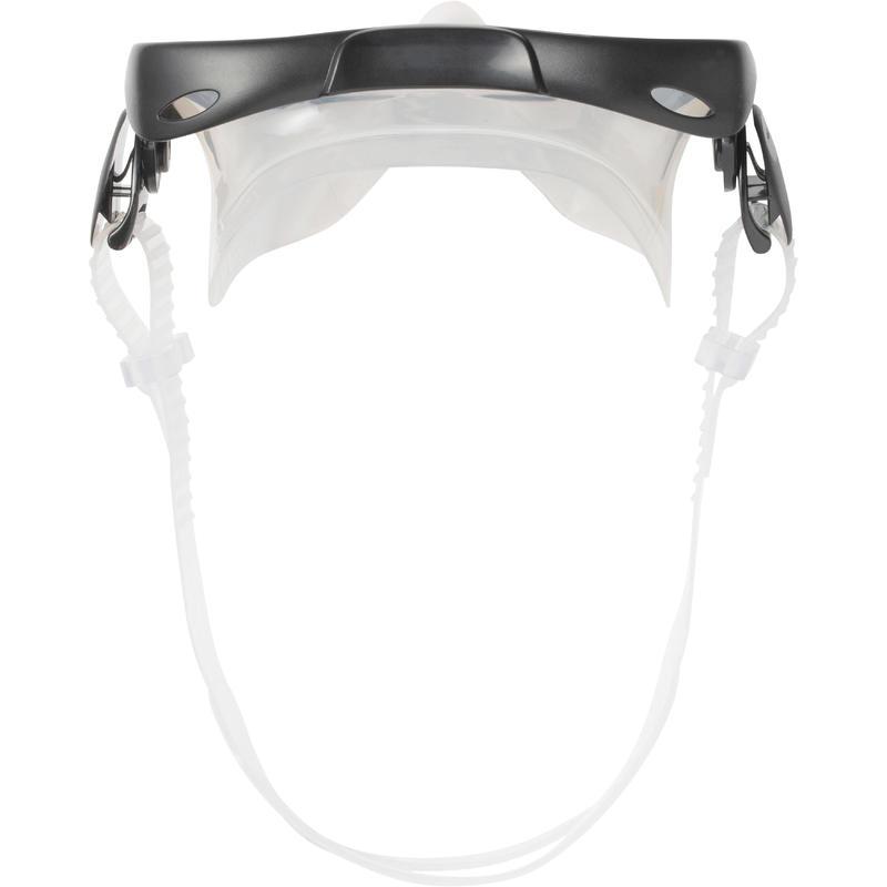 Kit palmes masque tuba d'apnée freediving PMT100 bleu noir pour adultes