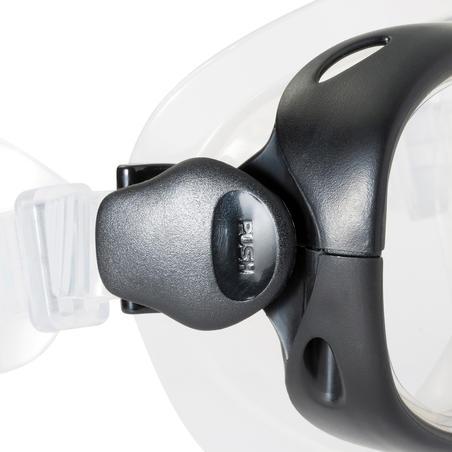 Ensemble palmes masque tuba de plongée en apnée PMT100 bleu noir pour adultes