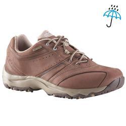 13283ad58bb Waterdichte leren damessneakers voor sportief wandelen Nakuru bruin / beige