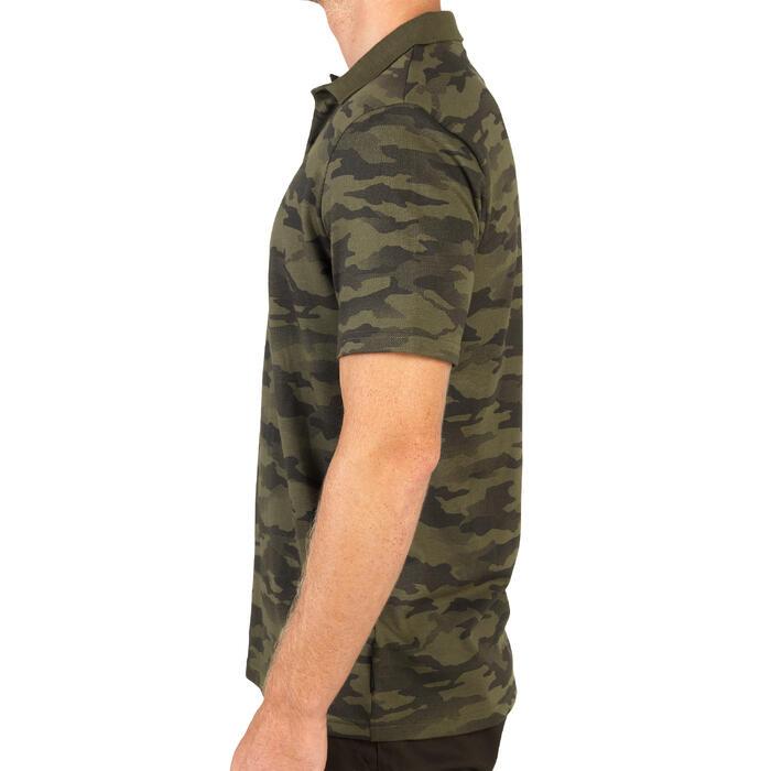 Jachtpolo met korte mouwen 100 camouflage kaki