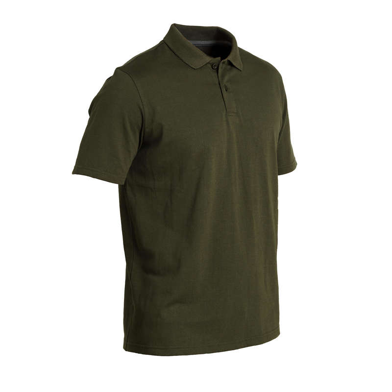 T-SHIRTS/POLOS Shooting and Hunting - 100 SS Polo Shirt - Green SOLOGNAC - Hunting and Shooting Clothing
