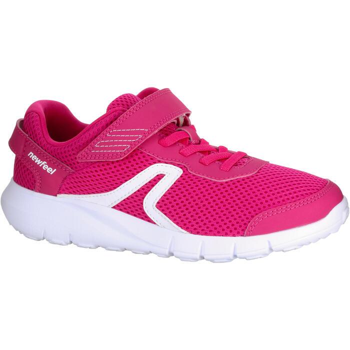 Zapatillas de Marcha Deportiva Newfeel Soft 140 Fresh niña rosa y blanco
