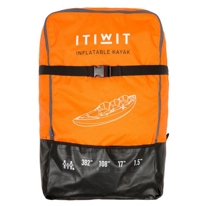 Opblaasbare toerkajak voor 2 tot 3 personen oranje