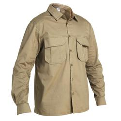 Overhemd 500 met lange mouwen bruin
