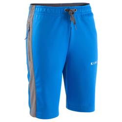 T500 Kids' Long Football Training Shorts - Blue/Grey