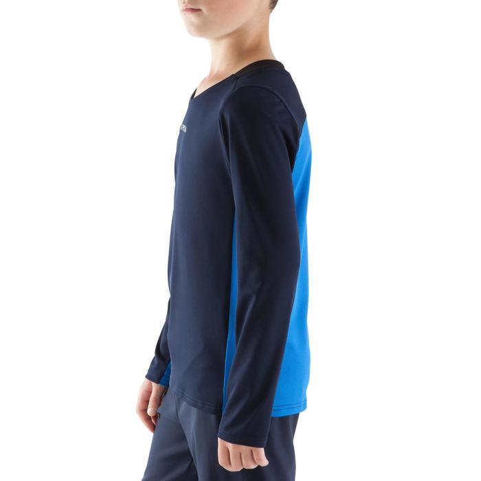 Voetbalshirt lange mouwen kinderen F500 donkerblauw/lichtblauw
