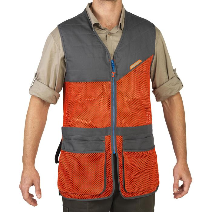 GILET BALL TRAP 100 ORANGE GRIS - 1064890