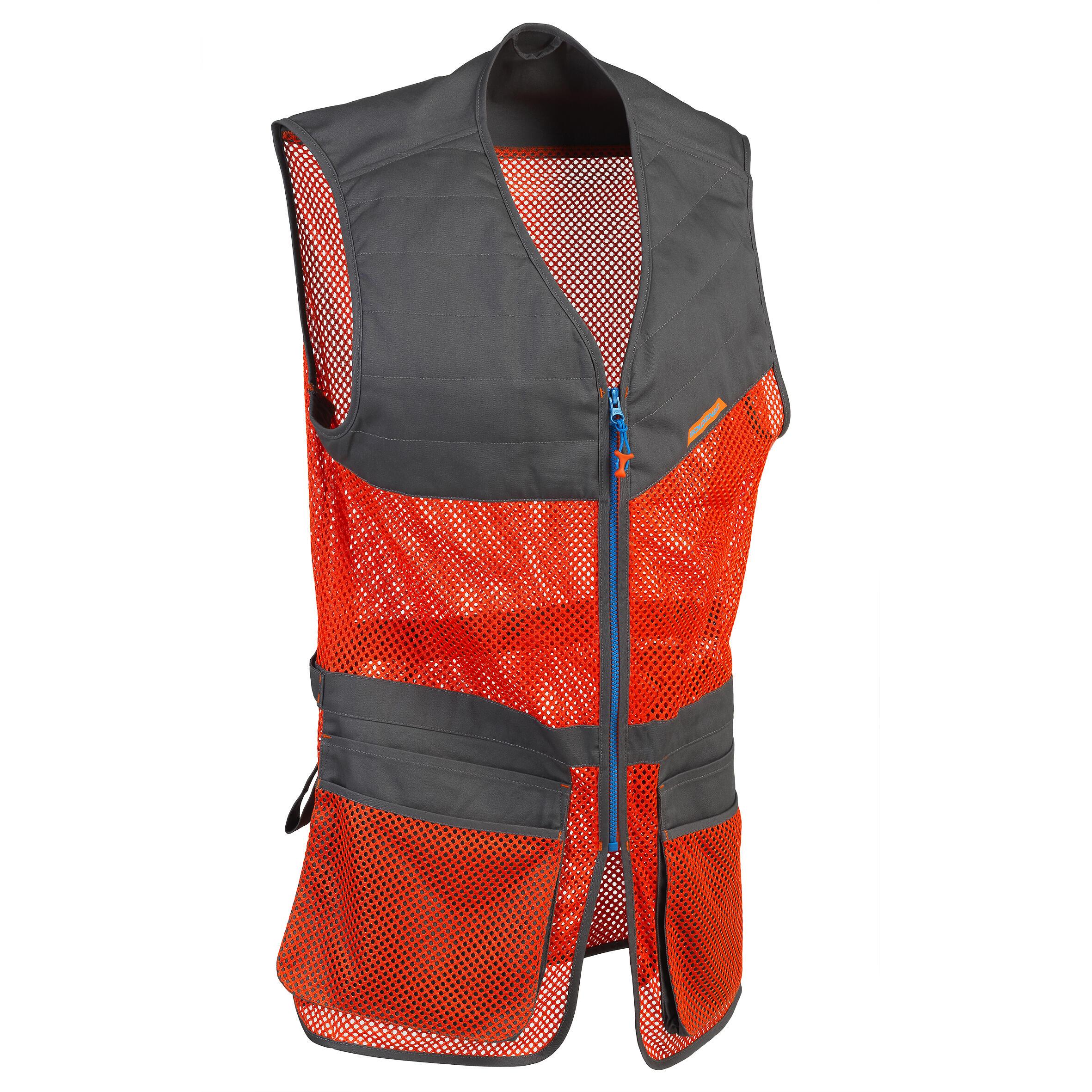 Solognac Vest 100 voor kleiduifschieten oranje grijs
