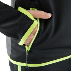 T500 Kids' Half-Zip Football Training Sweatshirt - Black/Neon Yellow