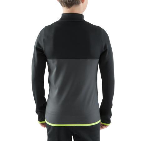 T500 Half-Zipper Soccer Training Sweatshirt Black/Neon Yellow - Kids'