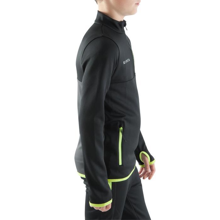 Trainingssweater met halve rits T500 zwart/fluogeel