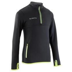 兒童款半開式拉鍊美式足球訓練運動衫T500-黑色/螢光黃