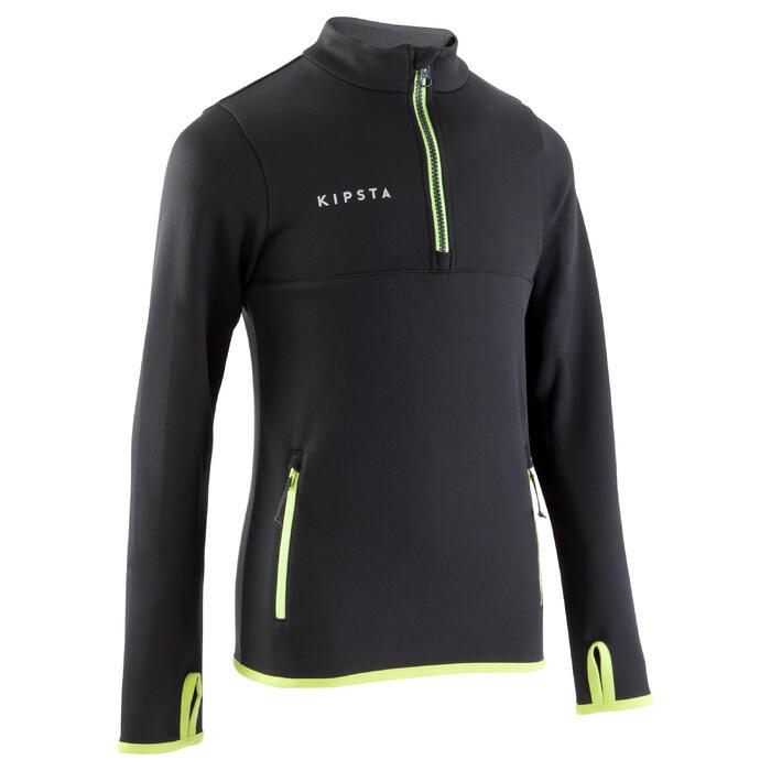 Trainingssweater met halve rits T500 voor voetbal, kinderen, zwart