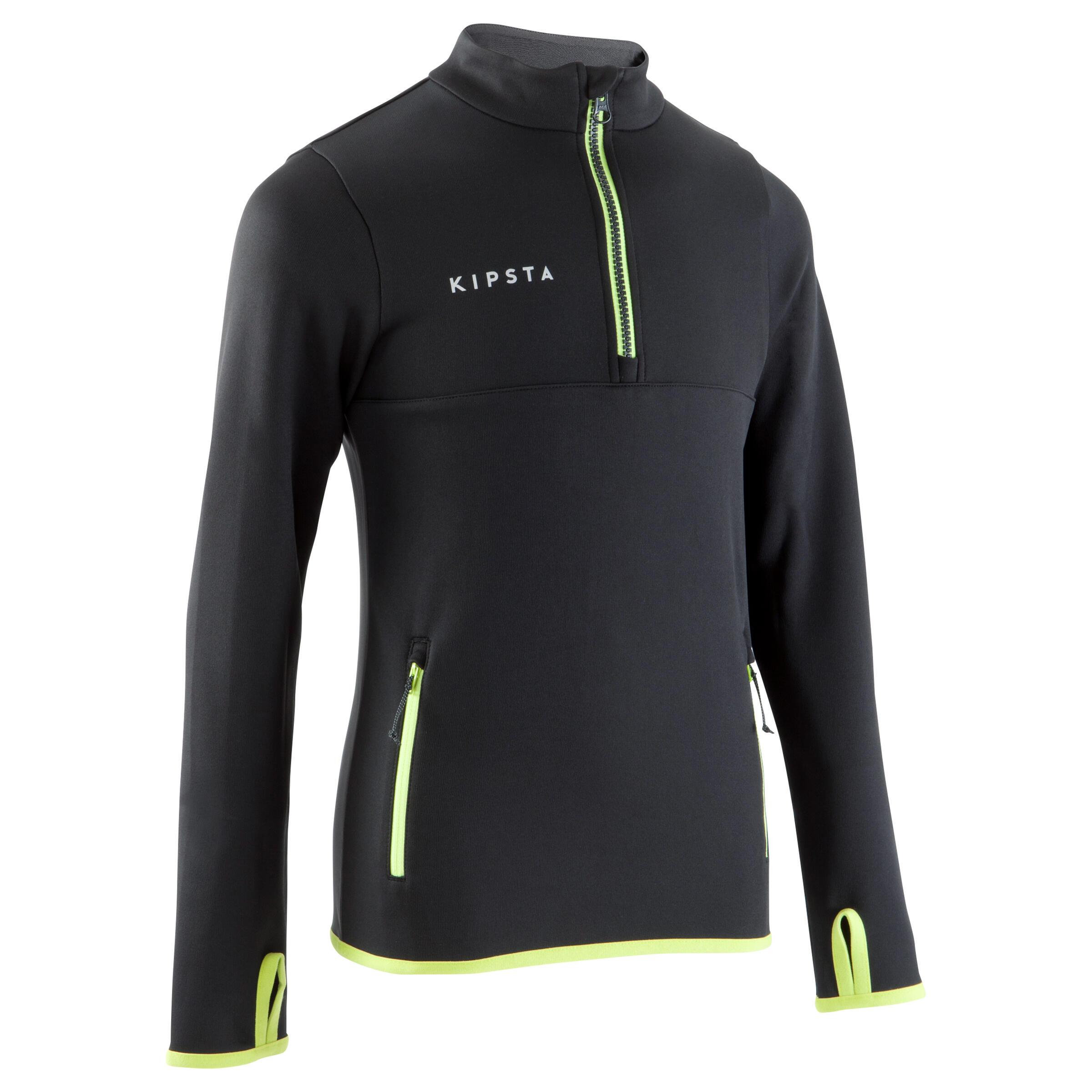 T500 Kids' Soccer Half-Zipper Training Sweatshirt - Black