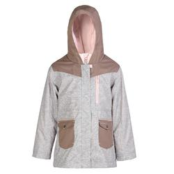 Hike 500 3-in-1 Girls' Warm Waterproof Hiking Jacket - Beige