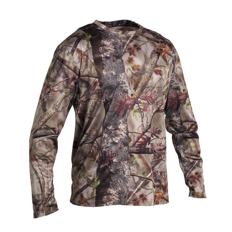 100 Breathable Long Sleeve Hunting T-shirt - Woodland Camo
