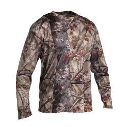 Ademend T-shirt met lange mouwen voor de jacht Actikam 100 camouflage bruin