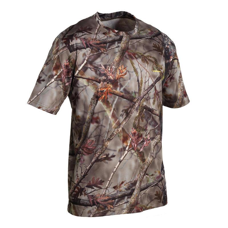 Lovecké prodyšné tričko 100 maskovací s motivem lesa