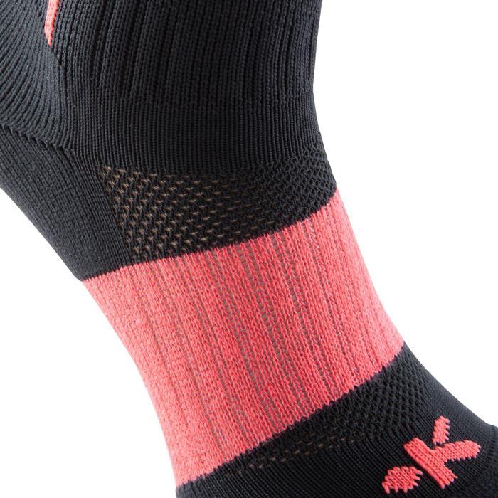 Chaussettes hautes football adulte F 500 noir rose