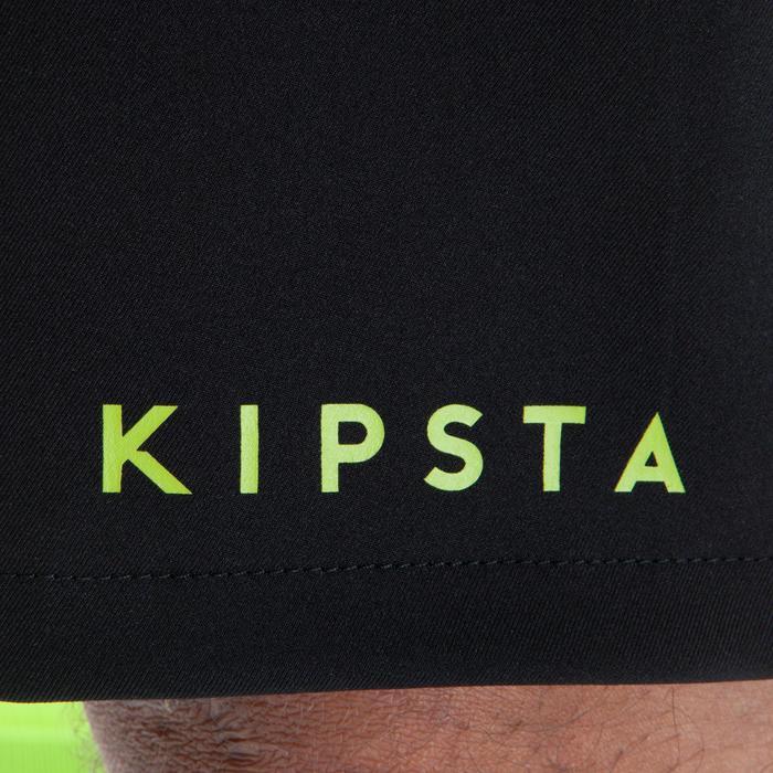 Pantalón corto de fútbol para adulto F500 negro amarillo