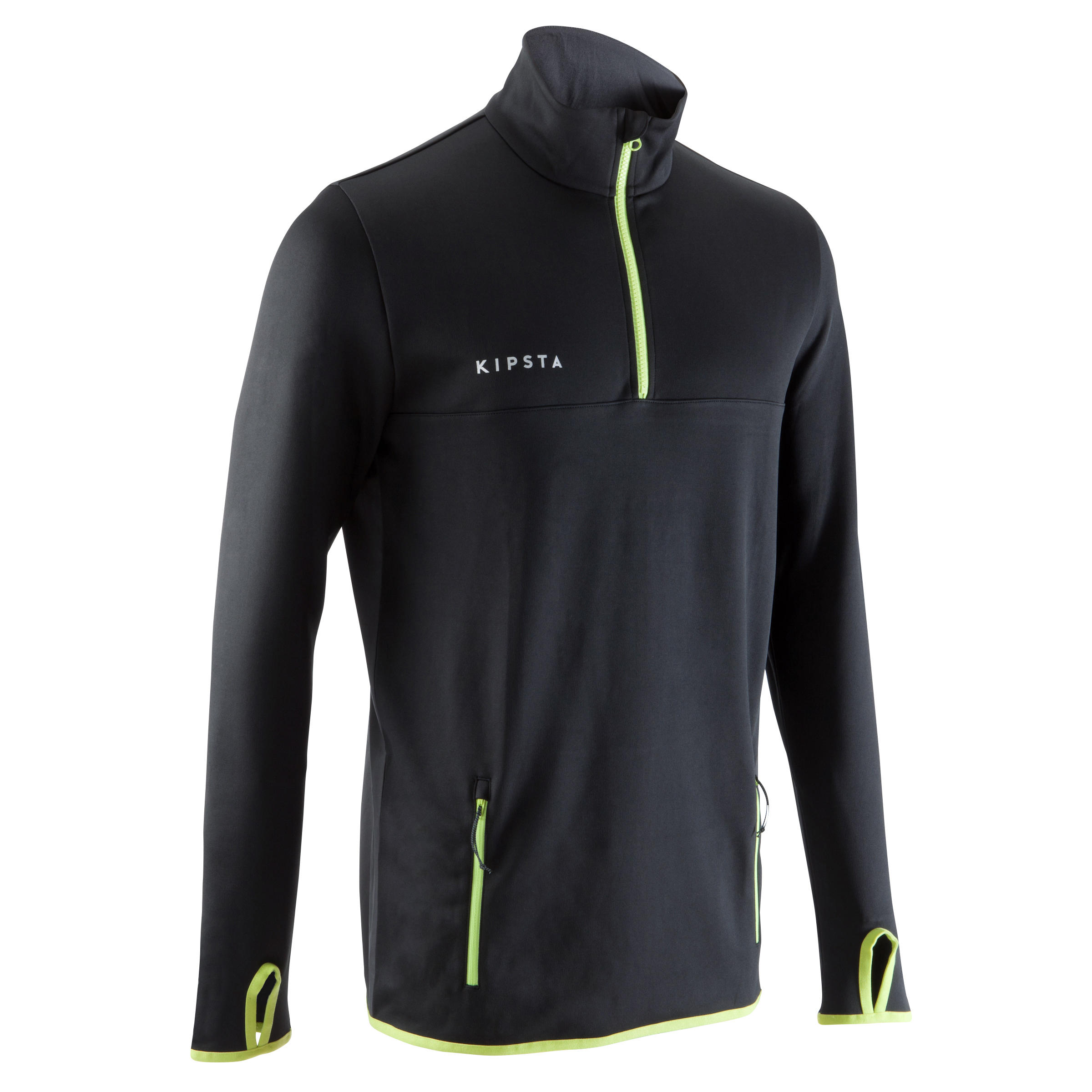 T500 Adult Soccer Training Half-Zipper Sweatshirt - Black