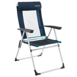 Silla de camping inclinable azul