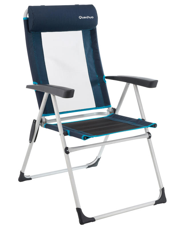 Camping Chair Foldable Comfort Reclining Blue