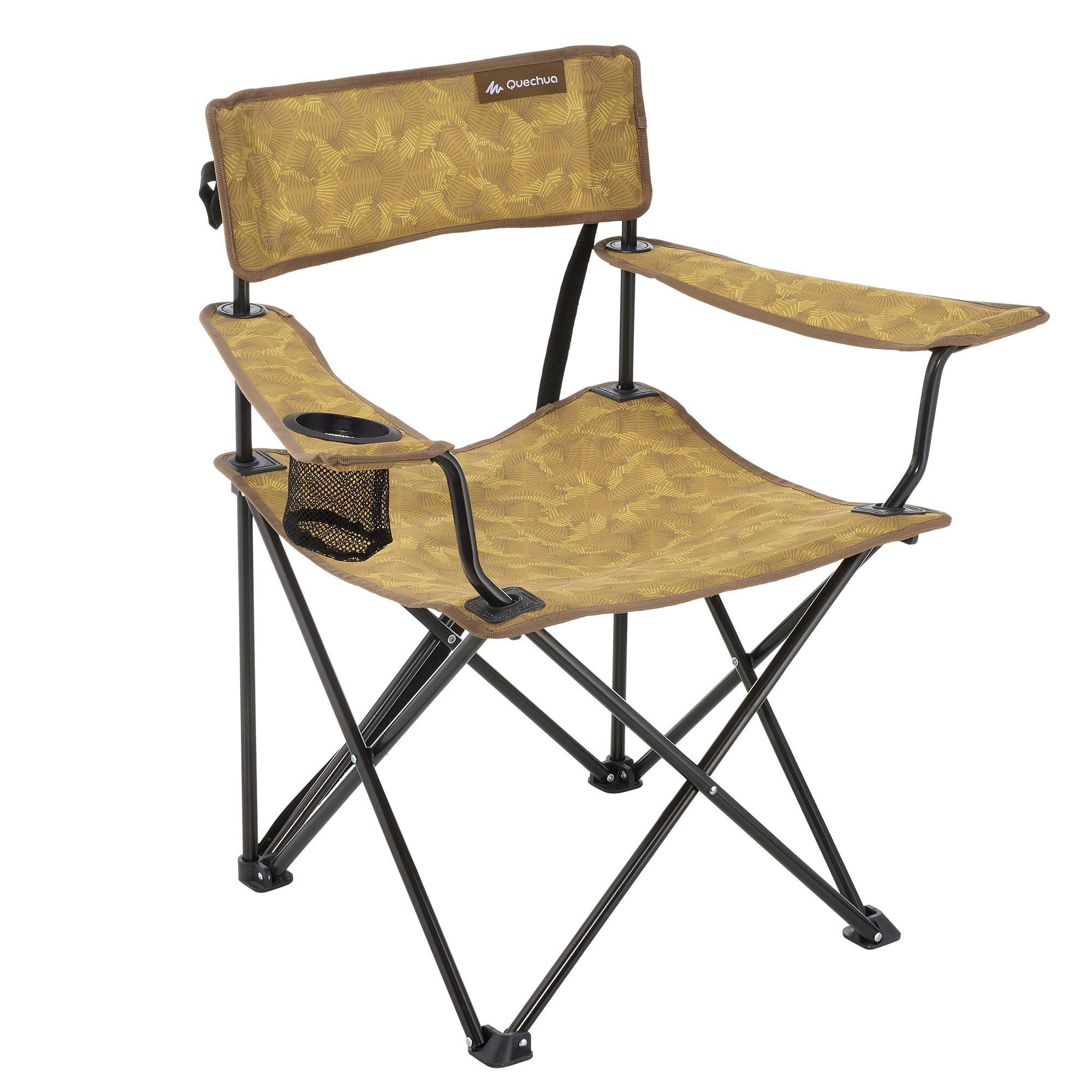Folding camping chair hiker 39 s camp yellow quechua for Table quechua