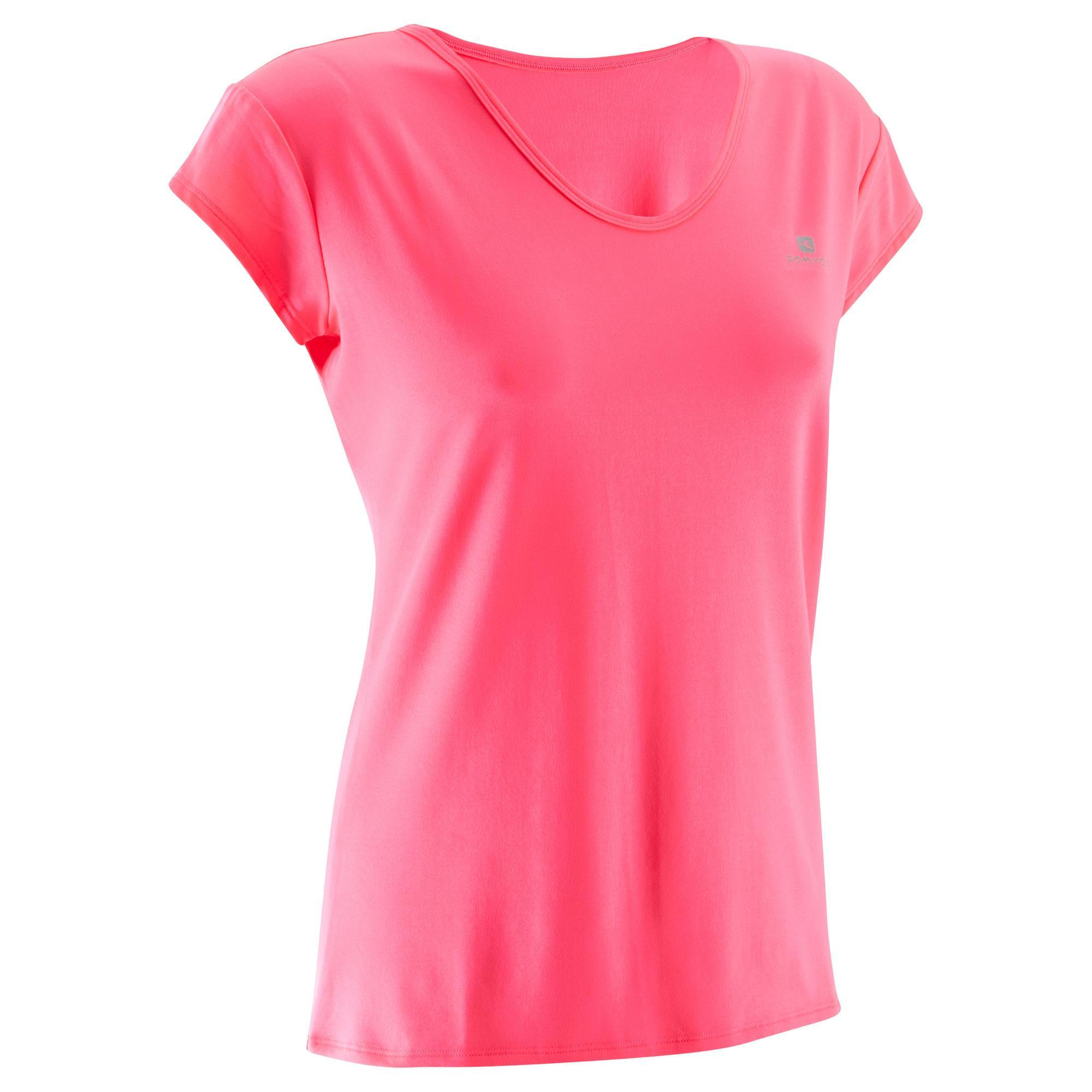 t shirt fitness cardio femme rose fluo 100 domyos domyos by decathlon. Black Bedroom Furniture Sets. Home Design Ideas