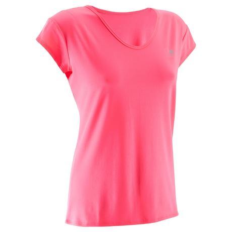 d7144382865 T-shirt cardio fitness femme rose fluo 100