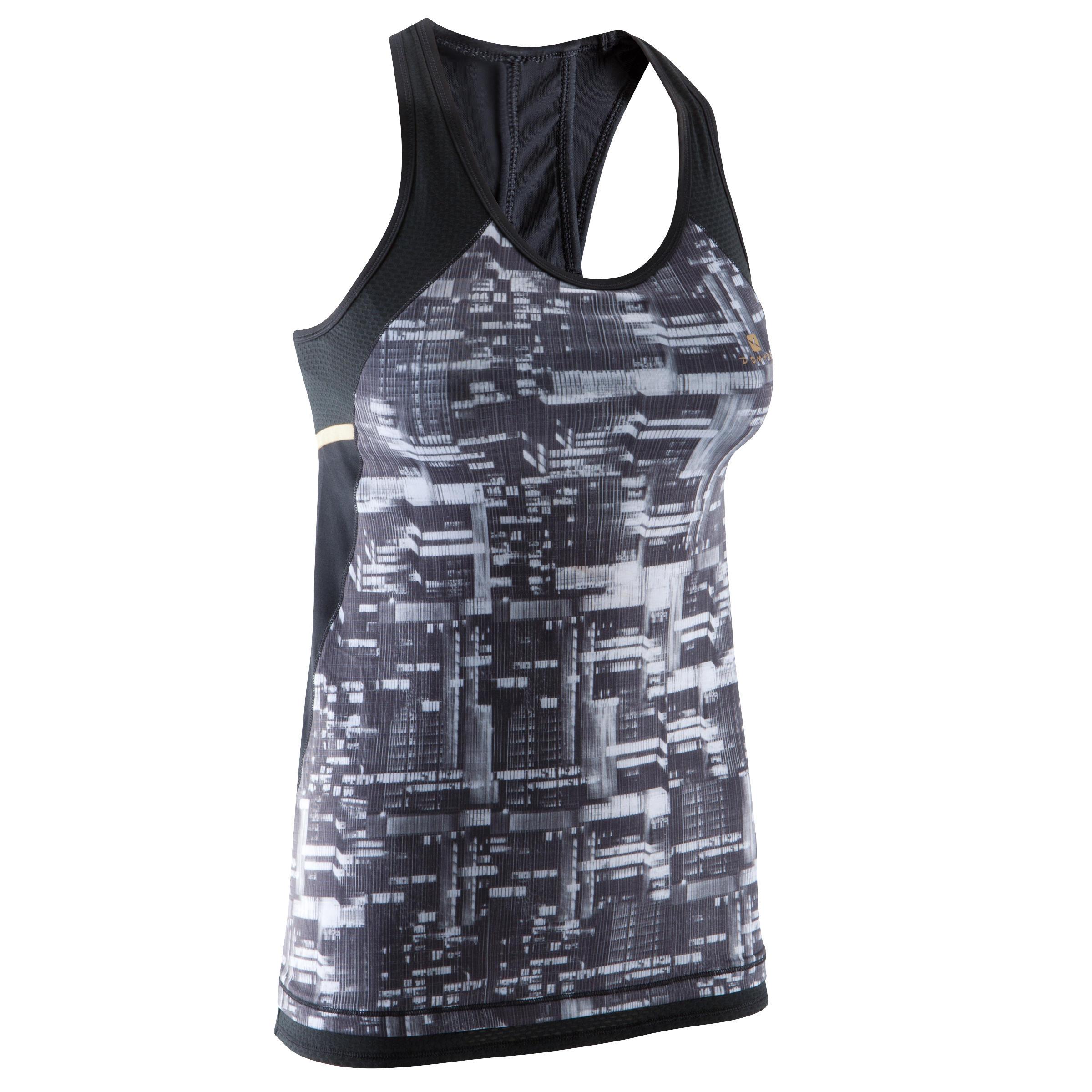 Energy Xtrem Women's Cardio Tank Top with Built-in Bra - Hitam dan Putih