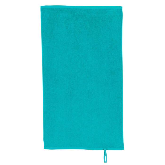 Kleine katoenen handdoek fitness blauw