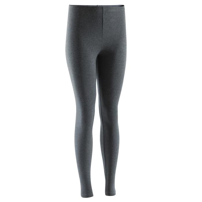 Dameslegging Salto 100 voor gym en stretching slim fit donkergrijs