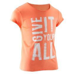 Gym T-shirt met korte mouwen 100 voor meisjes opdruk