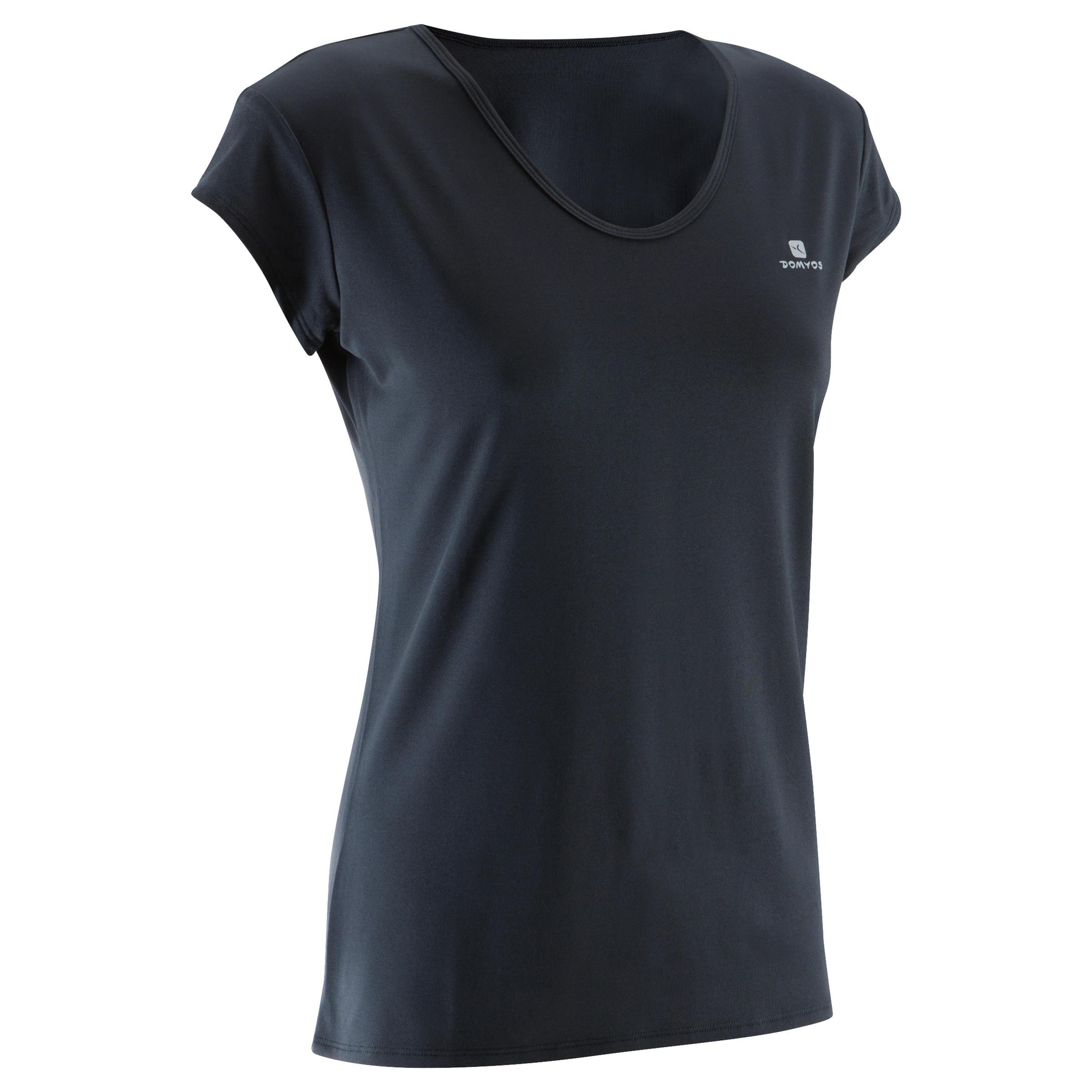 T-shirt entraînement cardio femme noir 100
