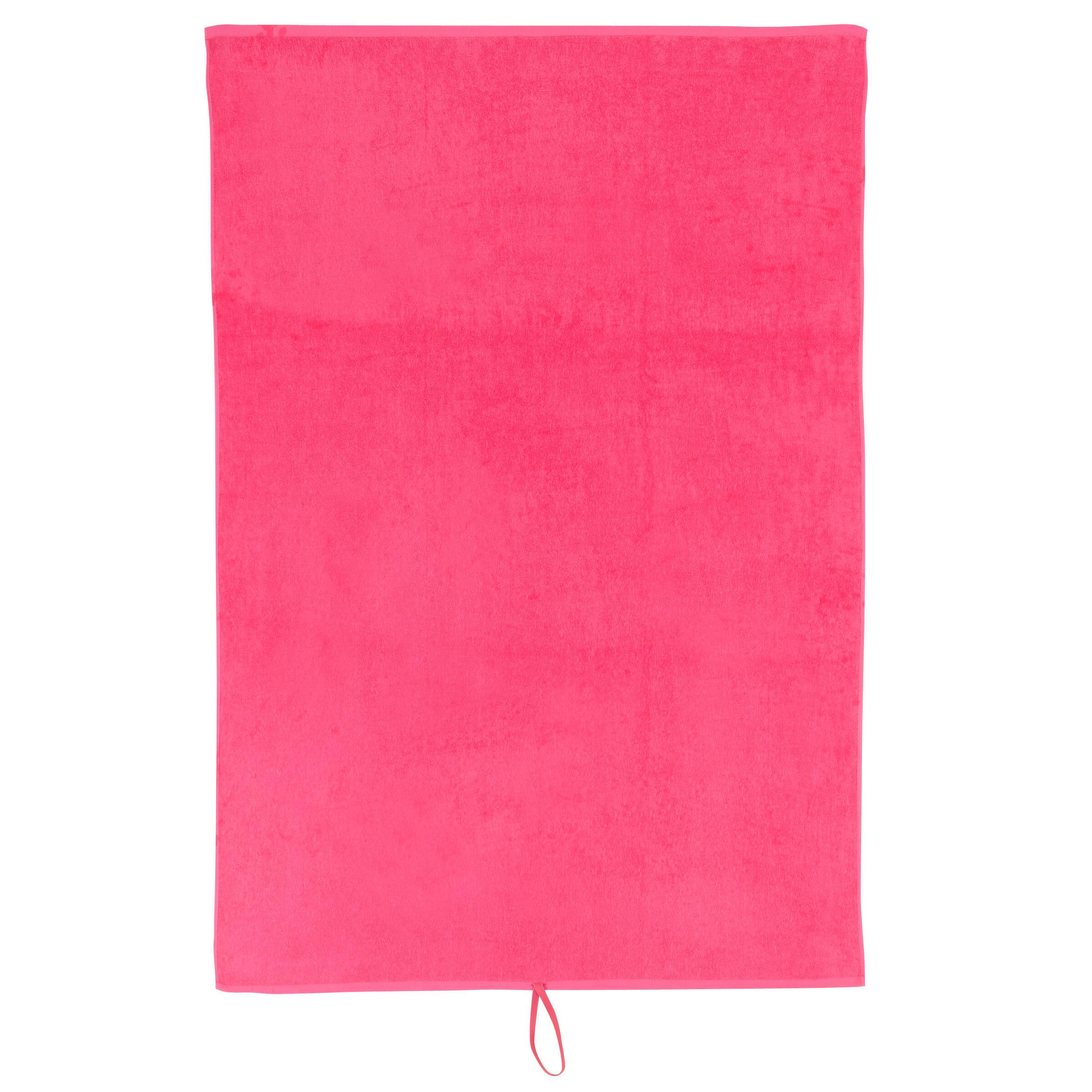 Toalla grande fitness algodón rosa Domyos