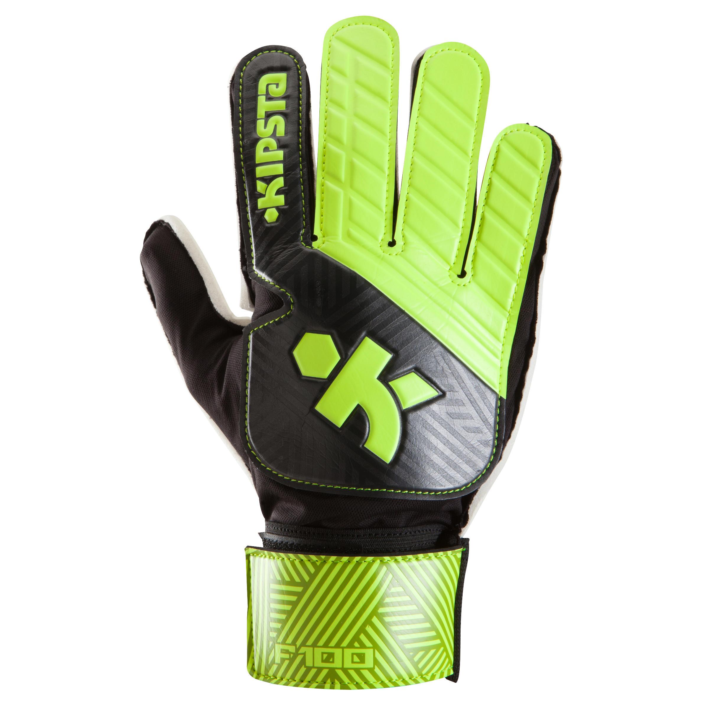 Kipsta Keepershandschoenen kind F100 zwart geel